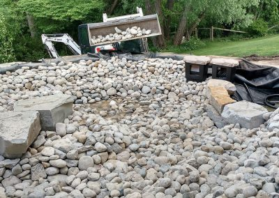 Filling bed of Above Ground Koi Pond with Rock