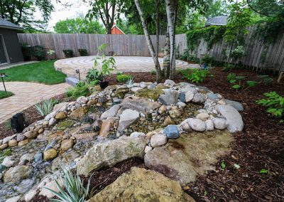 Pondless stream and stone labyrinth