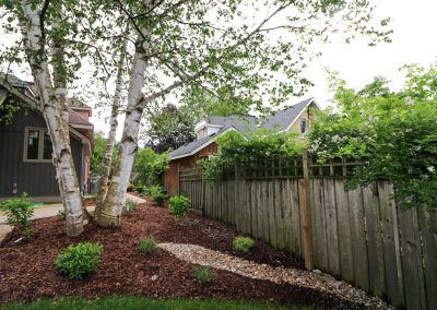 Perennial gardens and river rock