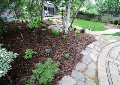 Natural stone pathway and shade-tolerant native plants in perennial garden