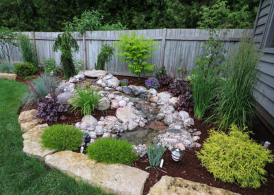 Pondless waterfall and garden Installation