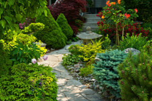 asian inspired traditional landscape design natural flagstone walkway native plants and shrubs pagoda